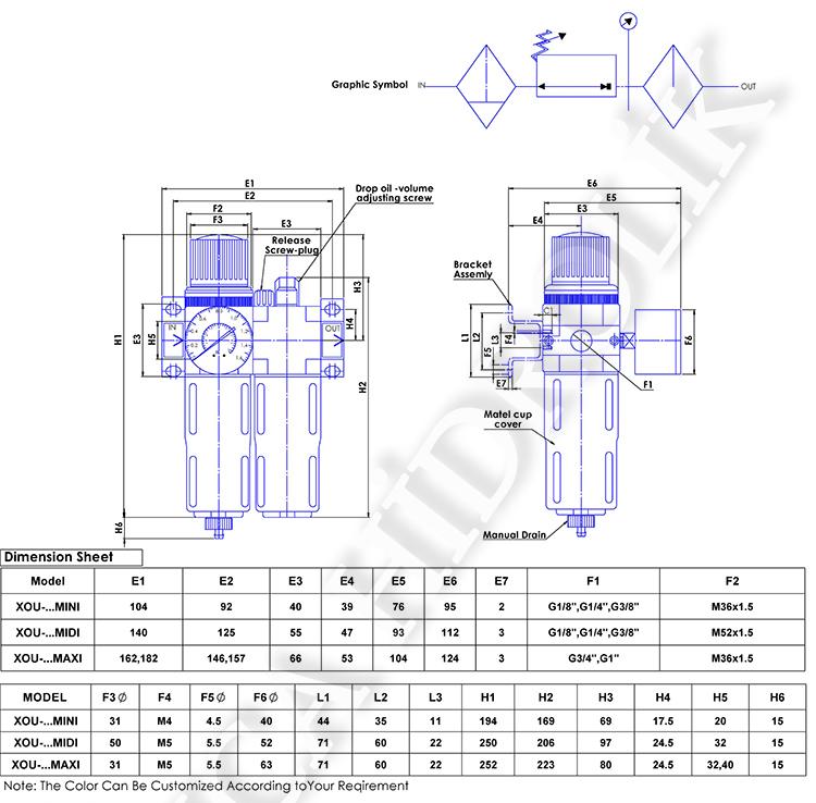 pnomatik sartlandirici resim 10018 - Pnömatik Şartlandırıcı - İkili - Mini Gövde - 16 Bar - 1/8 -