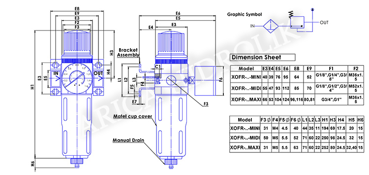 pnomatik sartlandirici resim 10021 - Pnömatik Şartlandırıcı - Filtre + Regülatör - Mini Gövde - 16 Bar - 1/8 -