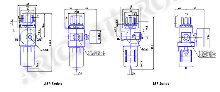 """pnomatik sartlandirici resim 10023 - Pnömatik Şartlandırıcı - Filtre + Regülatör - 2"""" - 0,15-0,85 Mpa -"""