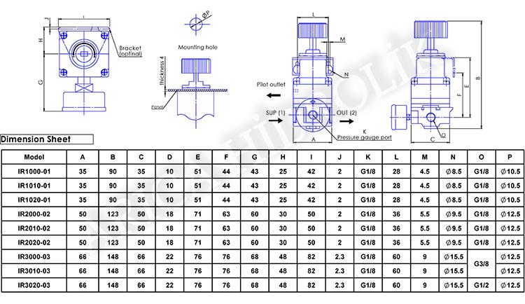 pnomatik sartlandirici resim 10024 - Pnömatik Regülatör - Hassas - 0,5 - 2 Bar - 1/4 -
