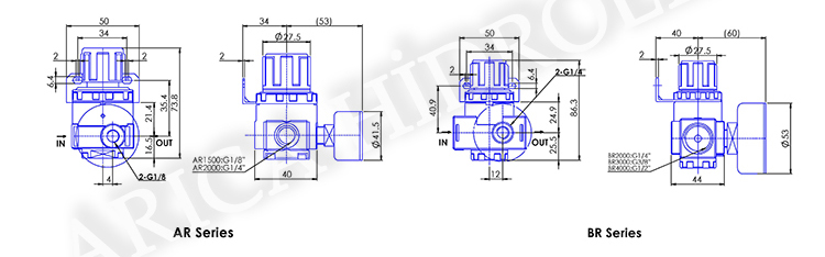 pnomatik sartlandirici resim 10026 - Pnömatik Regülatör - Yuvarlark Tip - 1/2 -