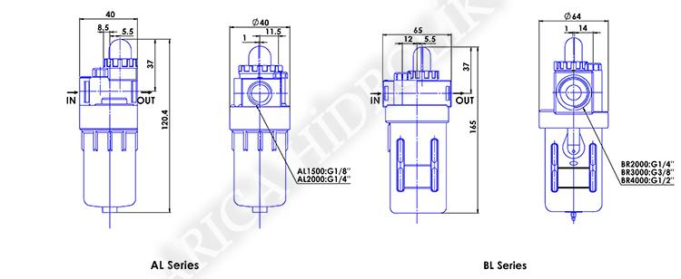 pnomatik sartlandirici resim 10027 - Pnömatik Yağlayıcı - Yuvarlak Tip - 1/4 -