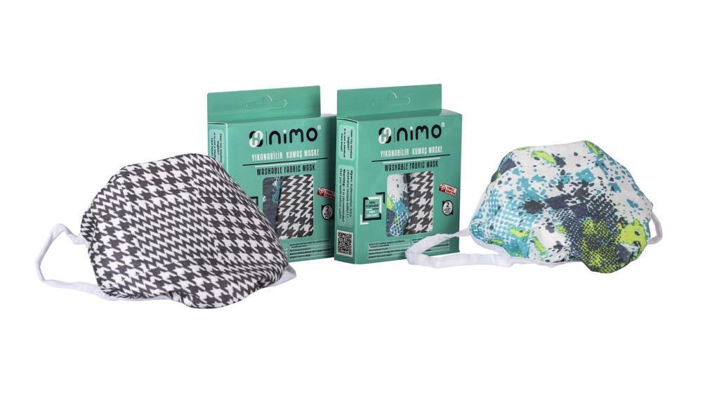 Nimo Kumaş Maske Yıkanabilir Yetişkin Yüz Maskesi 2x2 - 4 Adet